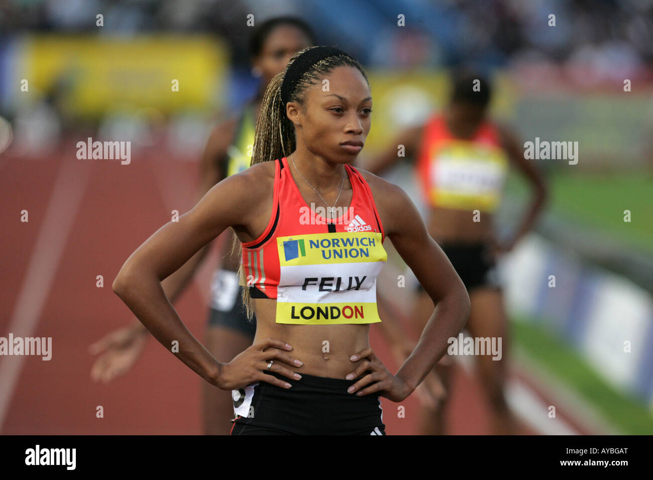 USA athlete Allyson Felix before the start of the 200m at the Crystal Palace Grand Prix 2007 - Stock Image