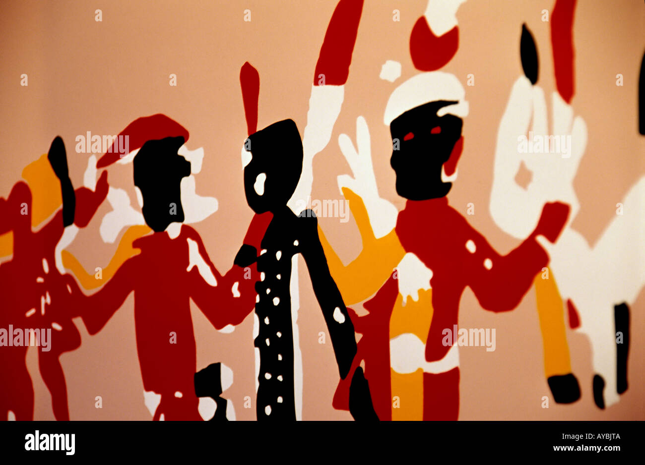 Mural in the visitors center at Gran Quivira Ruins, Salinas Pueblo Missions National Monument,  New Mexico. - Stock Image