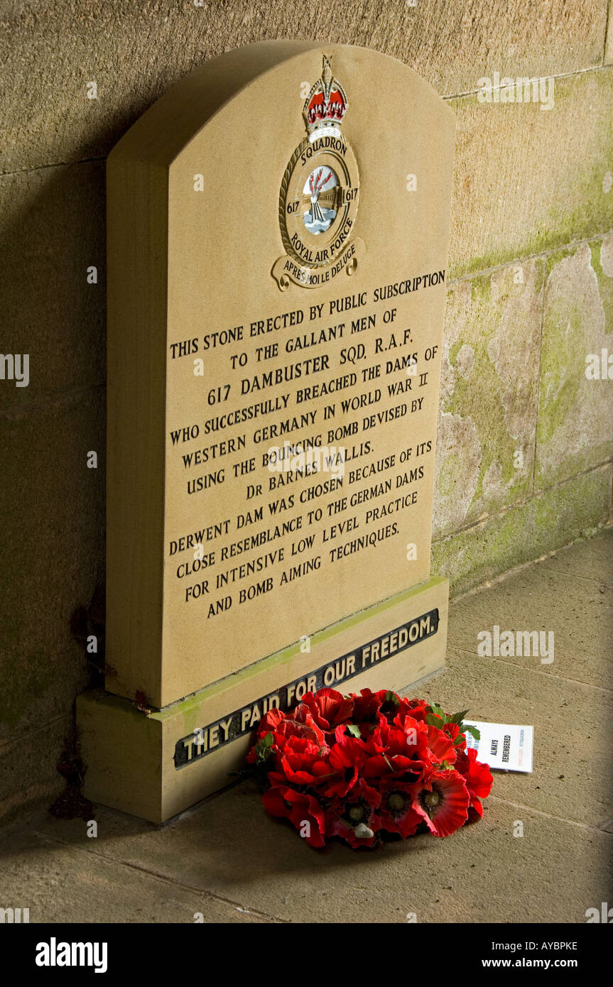 Memorial To The Dambusters Of 617 Squadron Derwent Dam Reservoir Derbyshire England UK