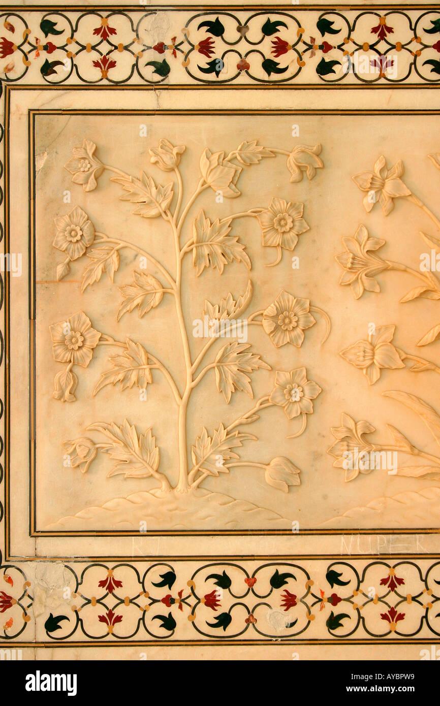 Wall carvings at the Taj Mahal, Agra, Uttar Pradesh, India Stock ...