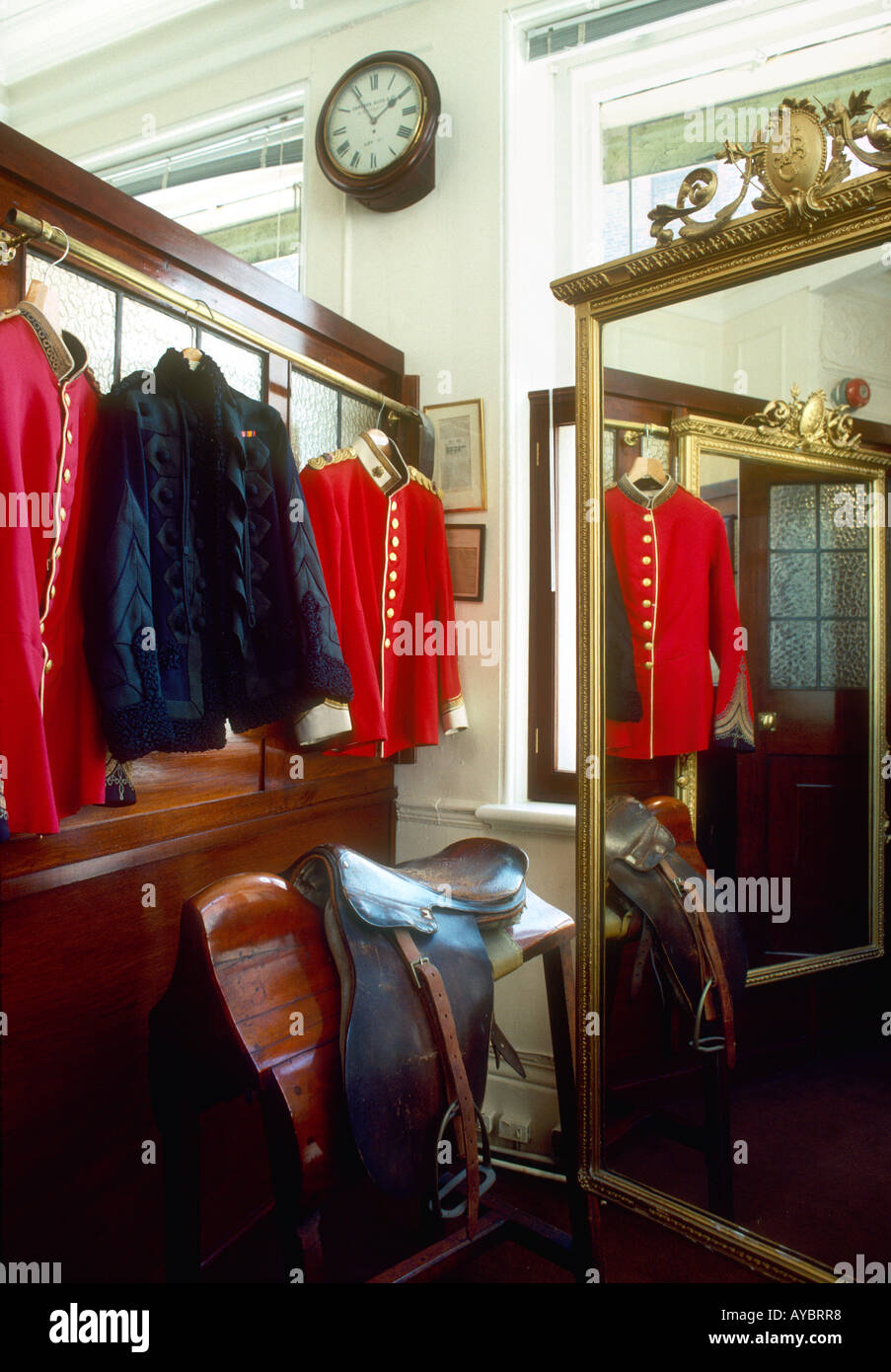 Scarlet jacket and Black Astrakan jacket, Fitting Room, Savile Row tailors Hogg JB Johnstone, London - Stock Image