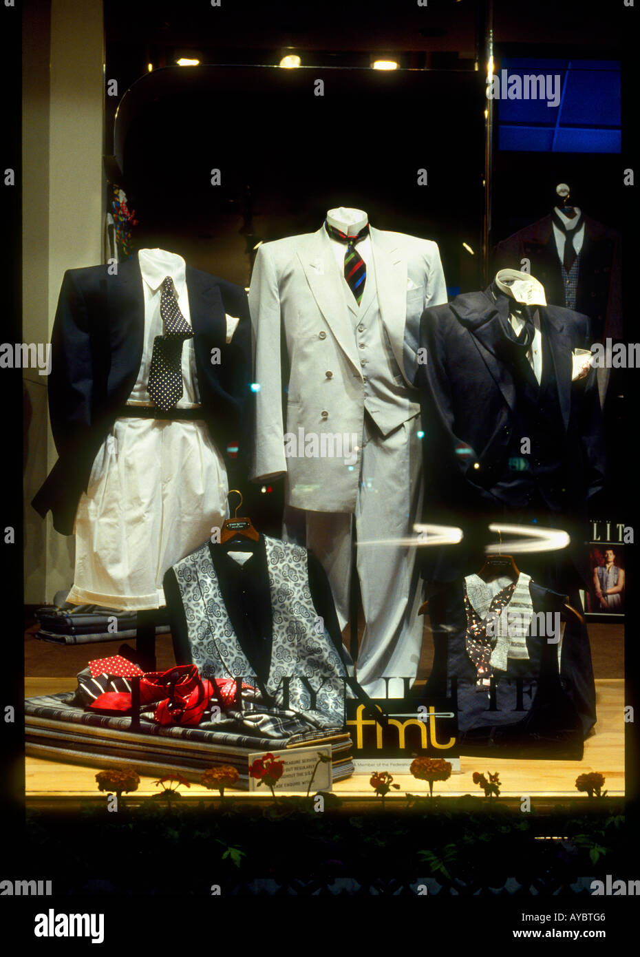 ae0f7cb13 Window display in the shop front of exclusive trendy 1960 s designer Savile Row  tailor Tommy