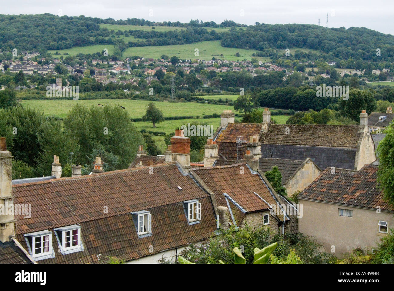 Batheaston Bath BANES England UK Looking from The Batch towards Bathampton water meadows Stock Photo