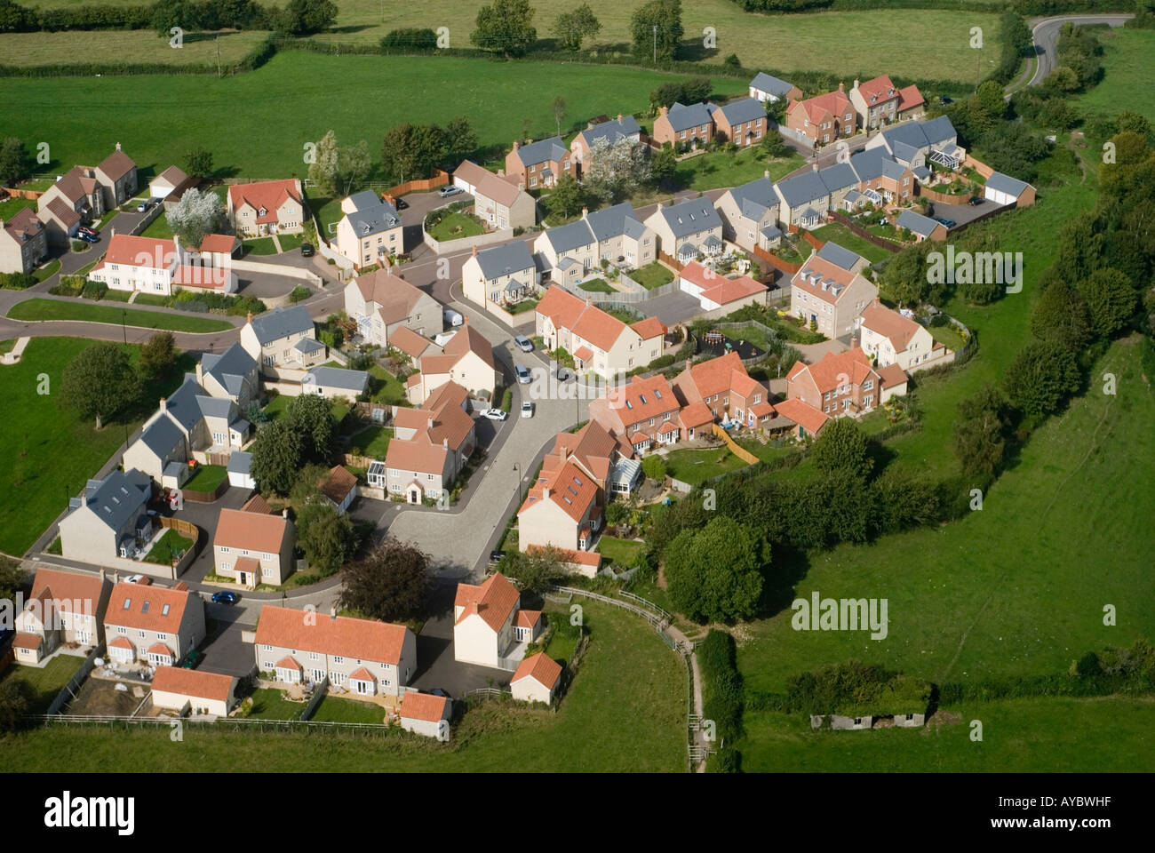 Aerial view of a new housing project on greenfield land Stock Photo