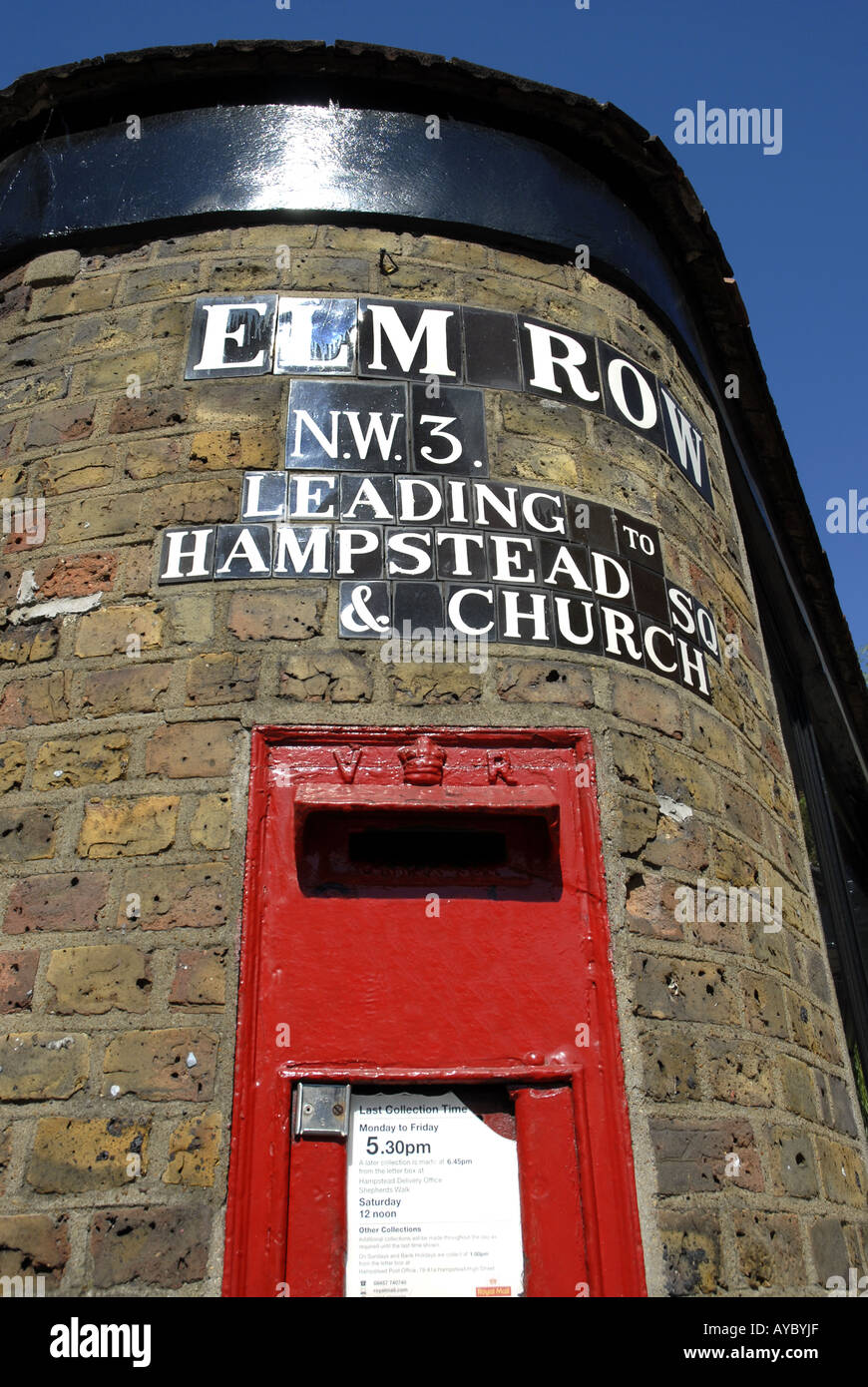 Victorian postbox in a wall at Elm Row Hampstead London Stock Photo