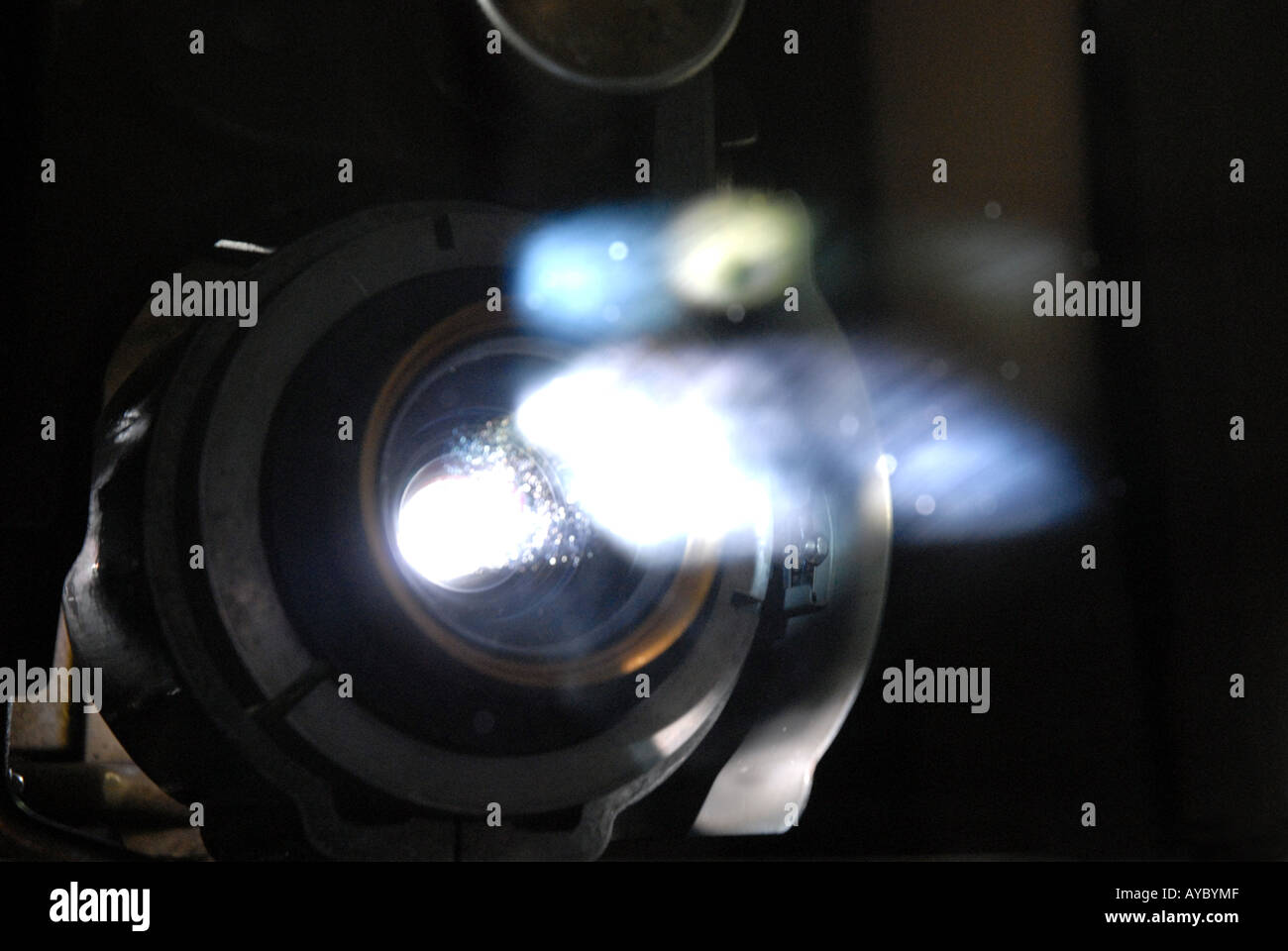 Film projector lens image - Stock Image
