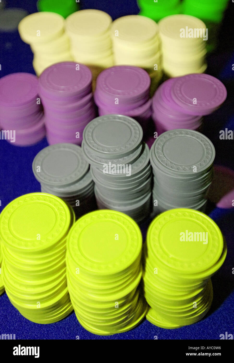 Stacks of poker chips - Stock Image