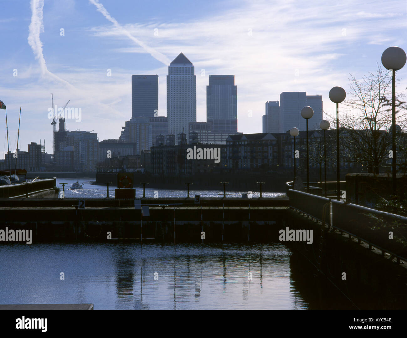 Londons Isle of Dogs viewed from Shadwell Basin - Stock Image