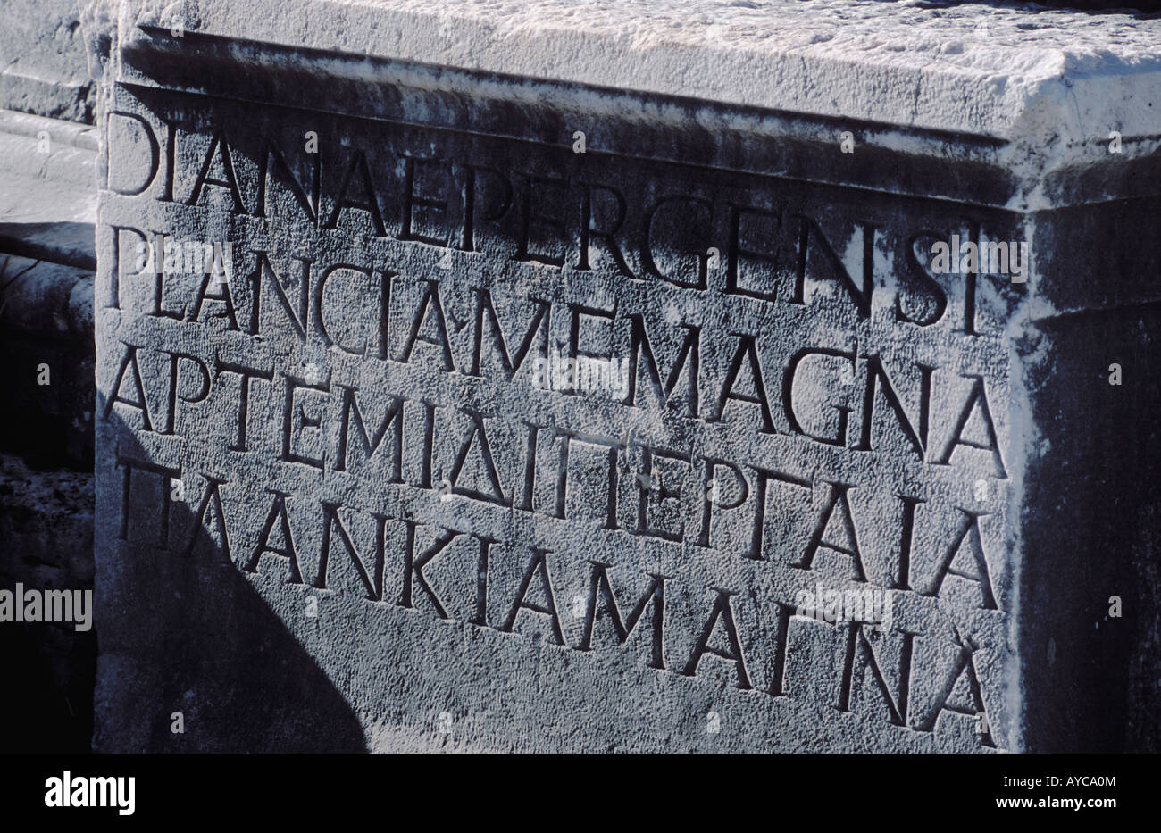 Ancient Script found on ruins at Perge Turkey - Stock Image