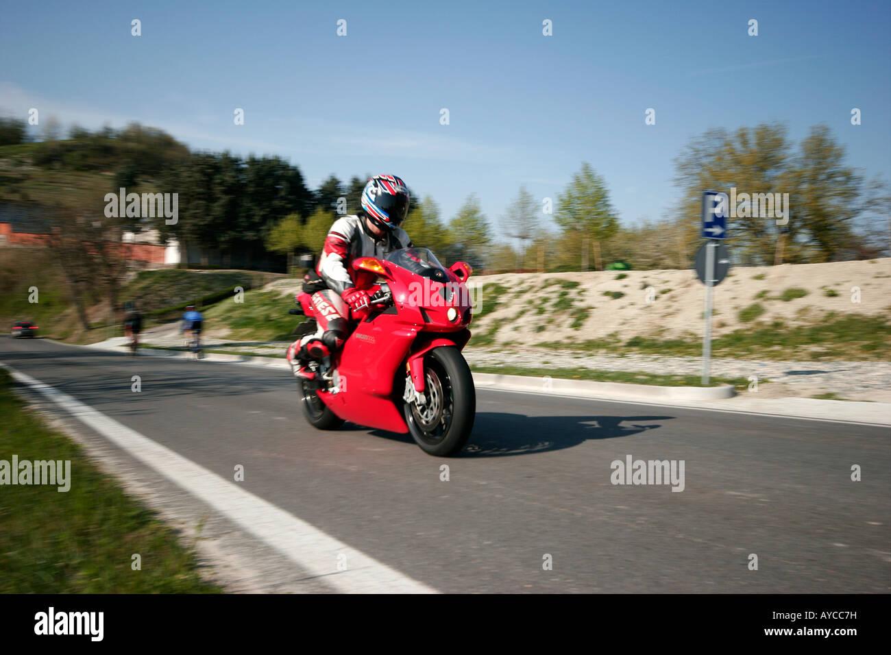 Motorbike (Ducati 999).  Berzano San Pietro, Piemonte, Italy Stock Photo