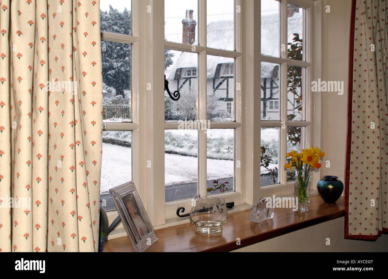 Winter Snow Scene England UK Gloomy Outlook Viewed From a Window - Stock Image