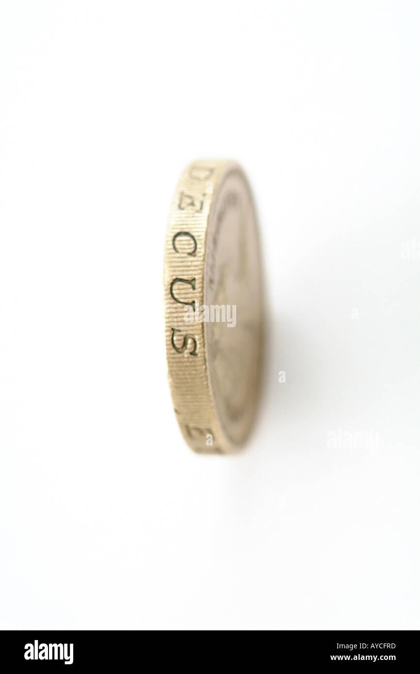Pound coin on edge - Stock Image
