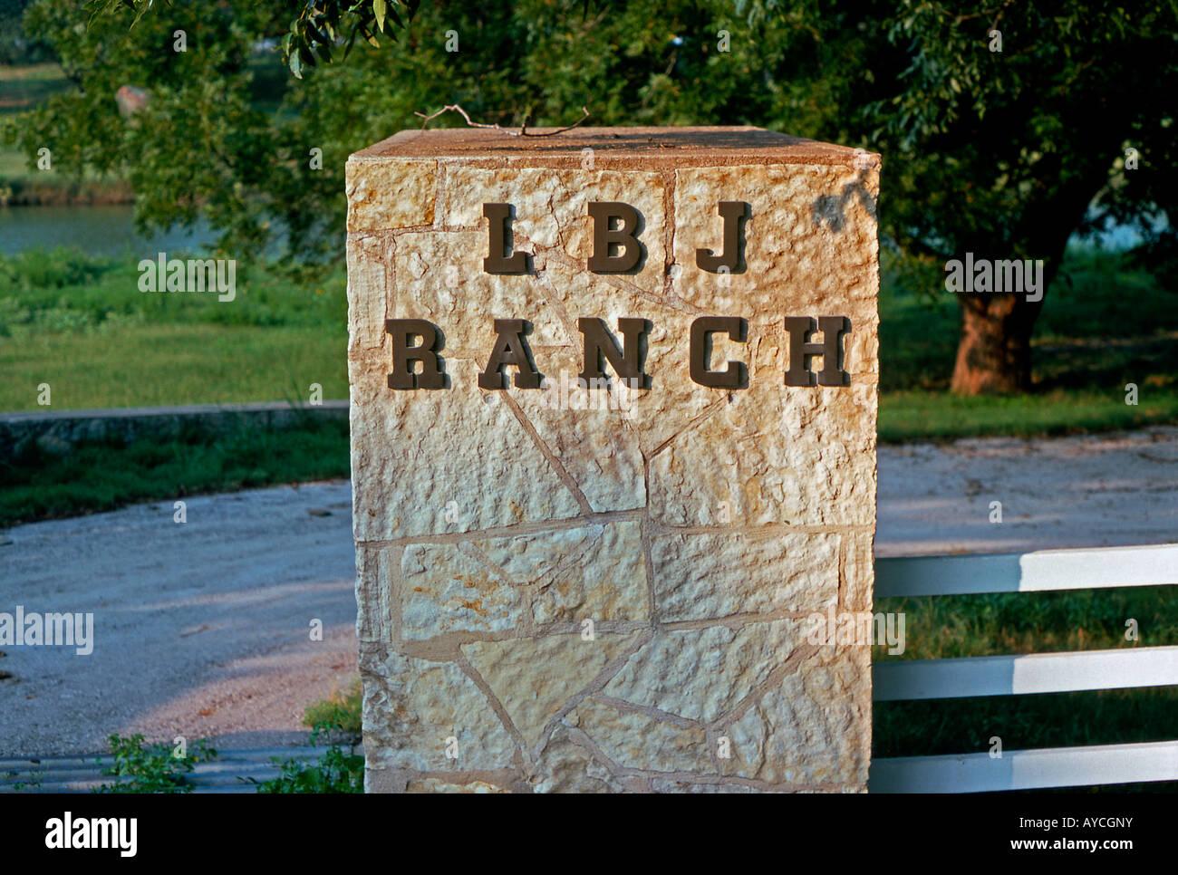 Entrance sign, LBJ Ranch, Stonewall, Texas, USA Stock Photo