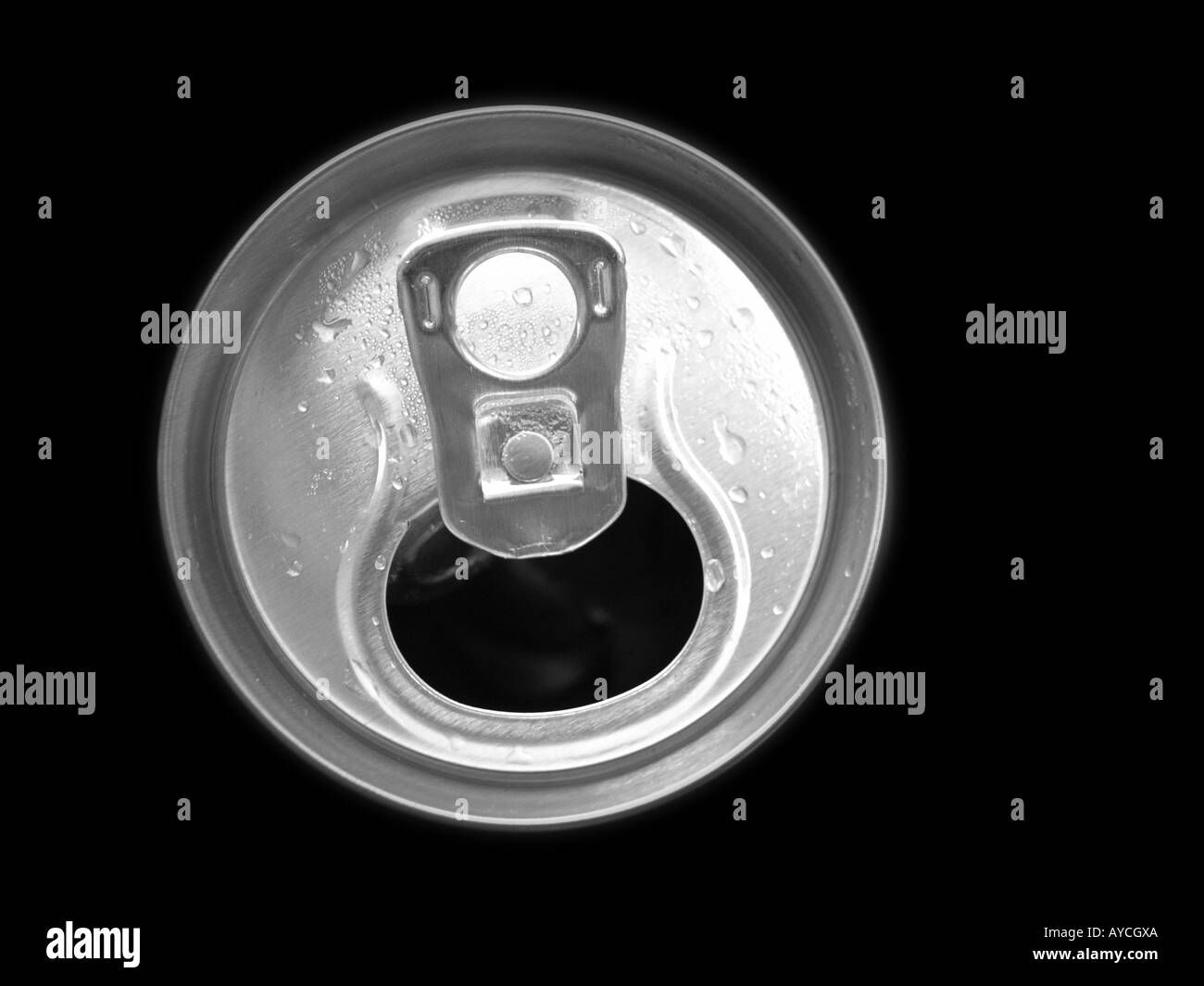 Top of a aluminum can pull tab recycled metal - Stock Image