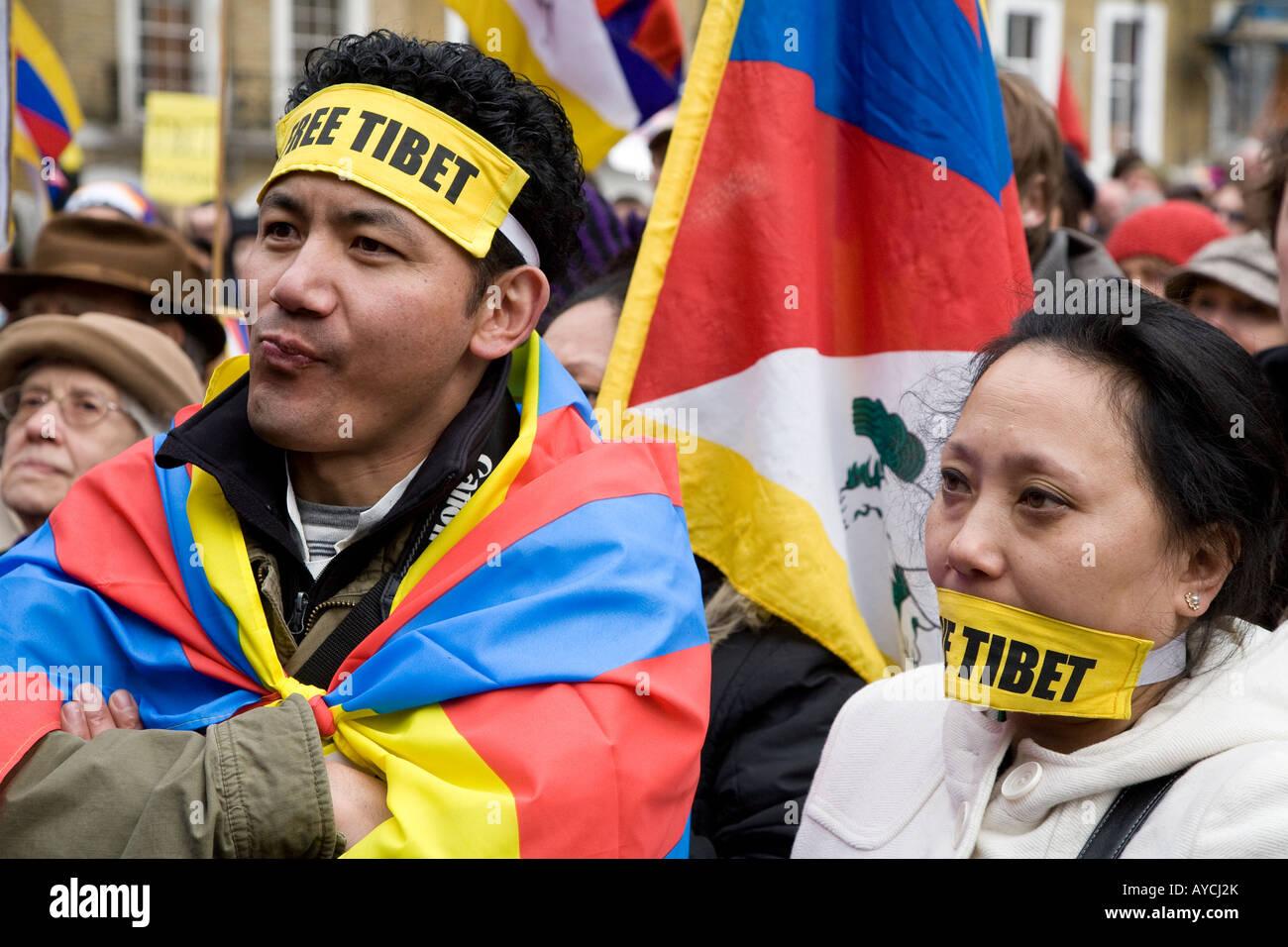 Tibetan Protesters At The Free Tibet Demo  London U.K. Europe - Stock Image