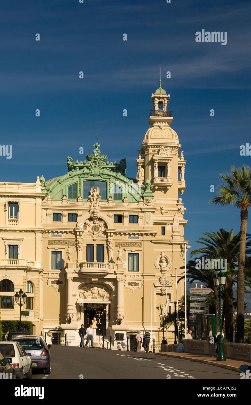 The side entrance to the Casino de Monte Carlo in the Principality of Monaco - Stock Image