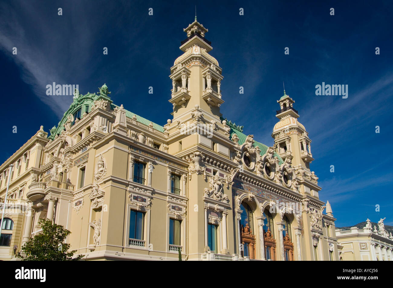 The rear of the Casino de Monte Carlo in the Principality of Monaco which looks out to sea - Stock Image