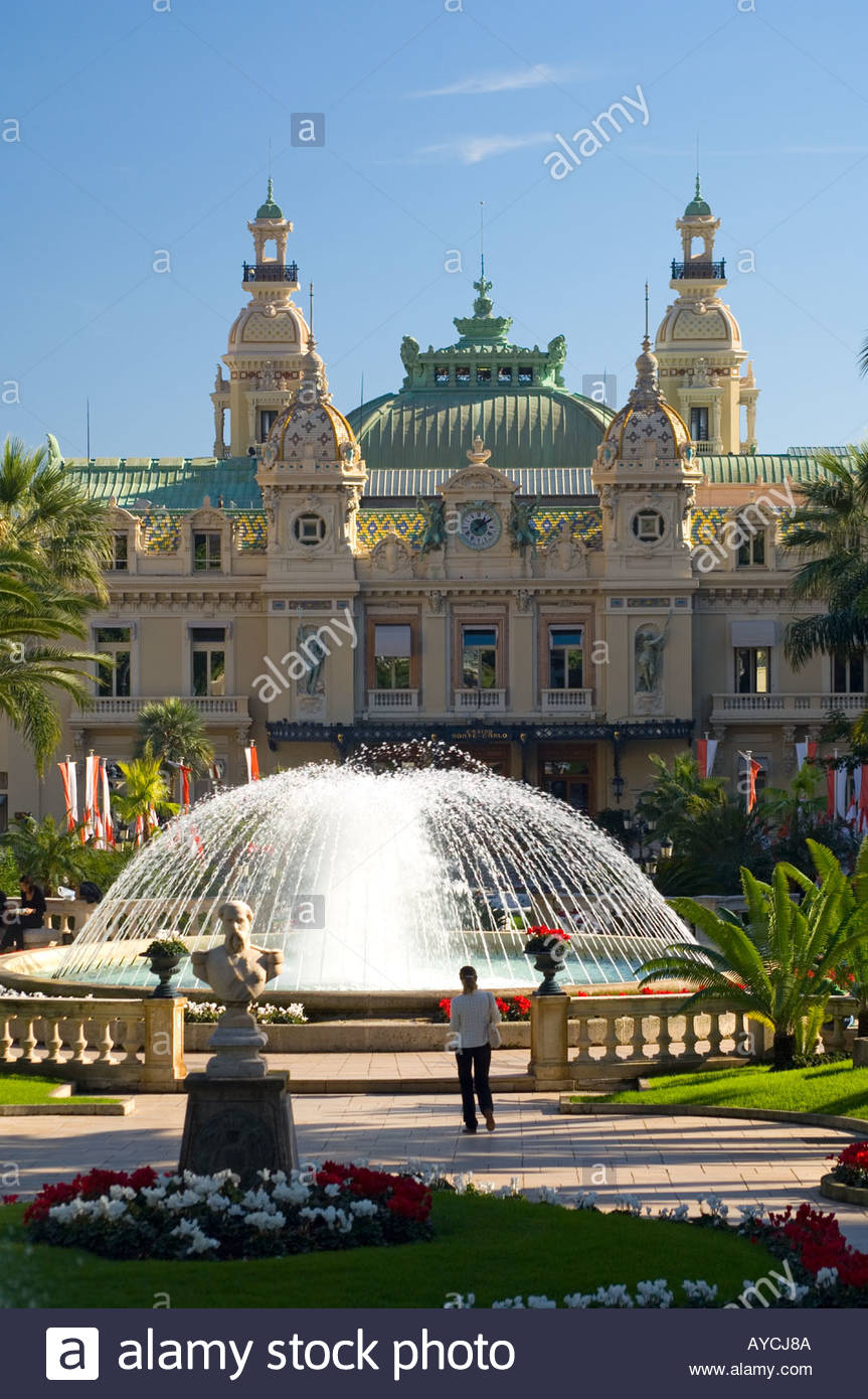 The Place du Casino at Monte Carlo is an  impeccable garden even in winter, speckled with fountains, flowers and sculptures. - Stock Image