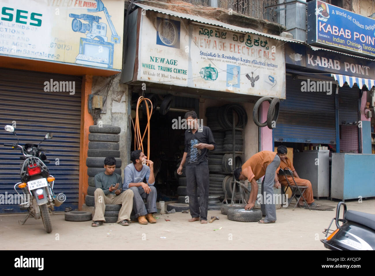 Tyre Shop India >> Tyre Shop In Bangalore India Stock Photo 17066037 Alamy