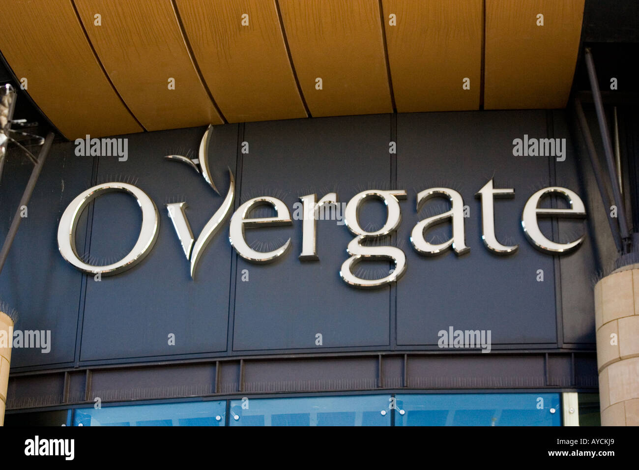 The entrance sign of the Overgate above the main doorways of the largest shopping mall in Dundee, UK - Stock Image