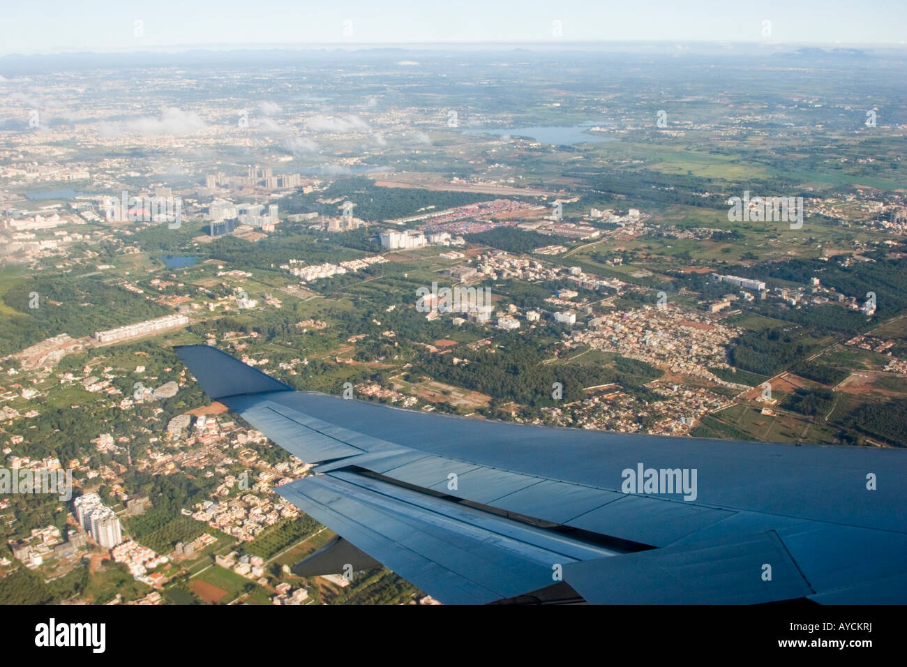View from aeroplane window of the suburbs of Banaglore - Stock Image