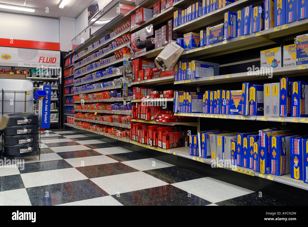 commercial interior of an auto parts store stock photo 17066928 alamy. Black Bedroom Furniture Sets. Home Design Ideas
