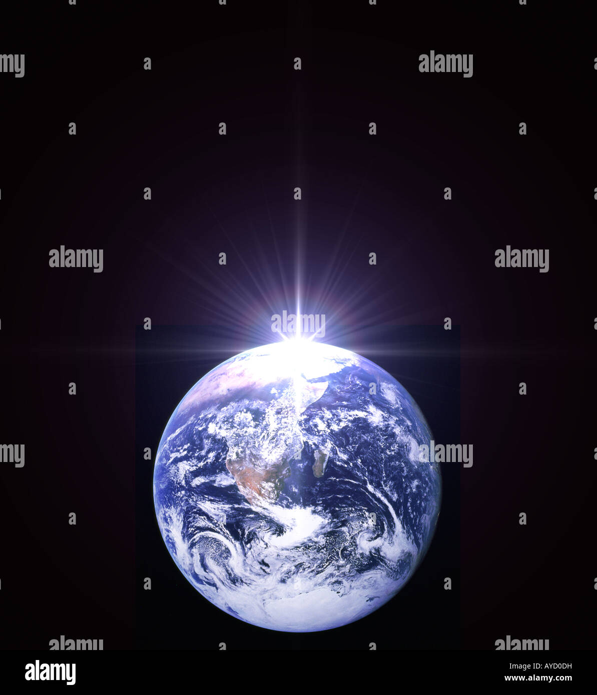 NASA view of earth from outer space with digitally altered bright star - Stock Image