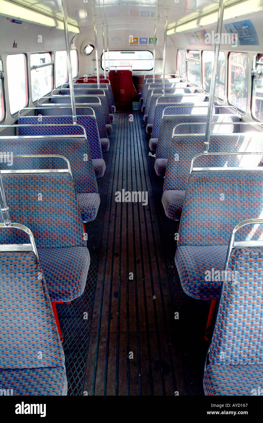 Interior of a double decker bus, London, United Kingdom Stock Photo