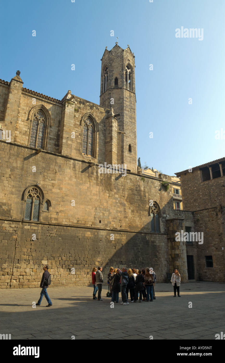 The Greater Royal Palace (St. Agatha's chapel) at Placa del Rei in Gothic Quarter of Barcelona - Stock Image
