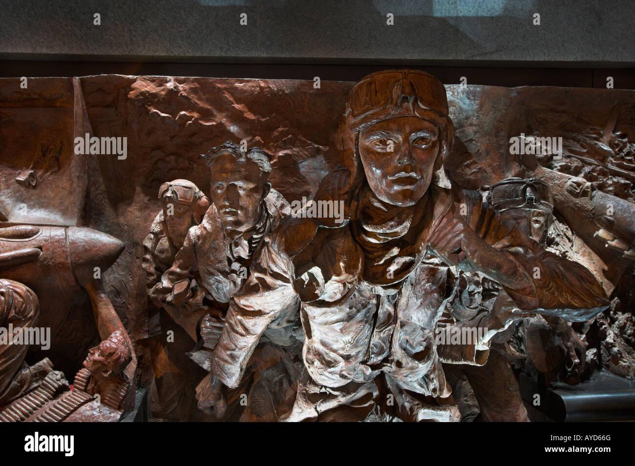 Battle of Britain Memorial detail Victoria Embankment London UK - Stock Image