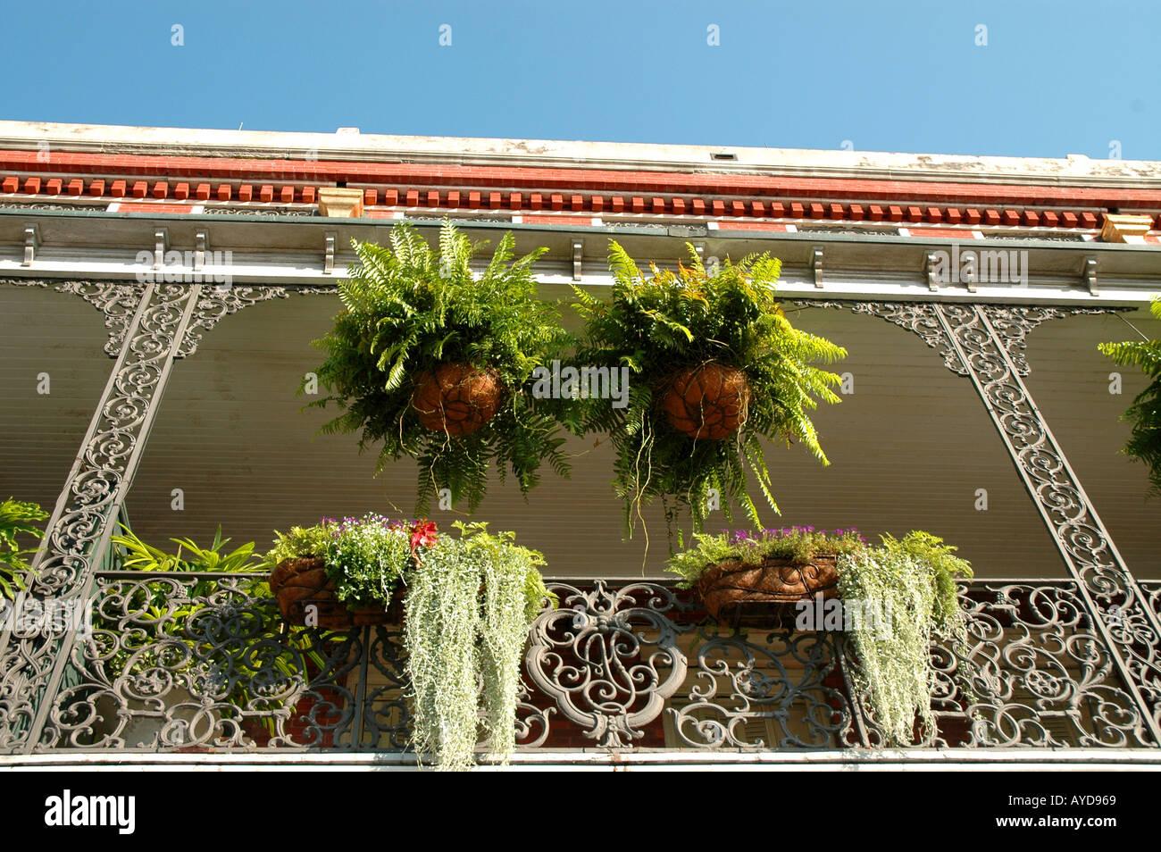 New Orleans LA Louisiana French Quarter building with iron balcony - Stock Image