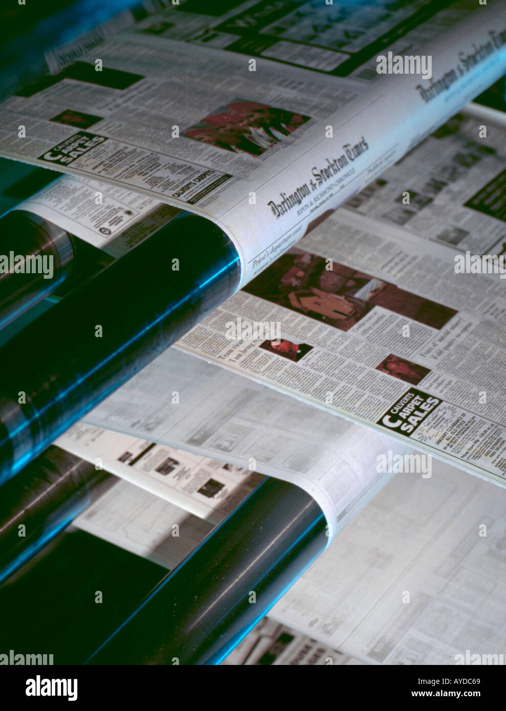 Part of a newspaper printing press - Stock Image