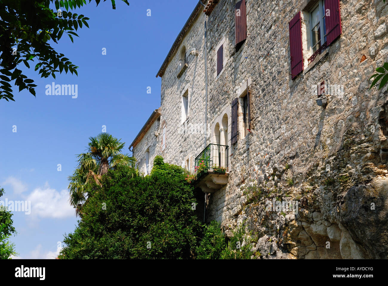 Outer wall of bastide village Tournon d'Agenais in the Lot-et-Garonne region, France Stock Photo