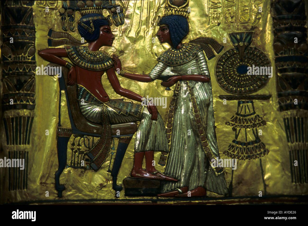 Egypt Cairo Egyptian Museum Tutankhamun s throne - Stock Image