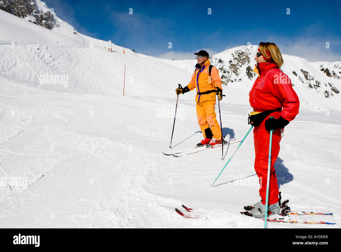 Skier On Piste In La Plagne The French Alps France Europe - Stock Image