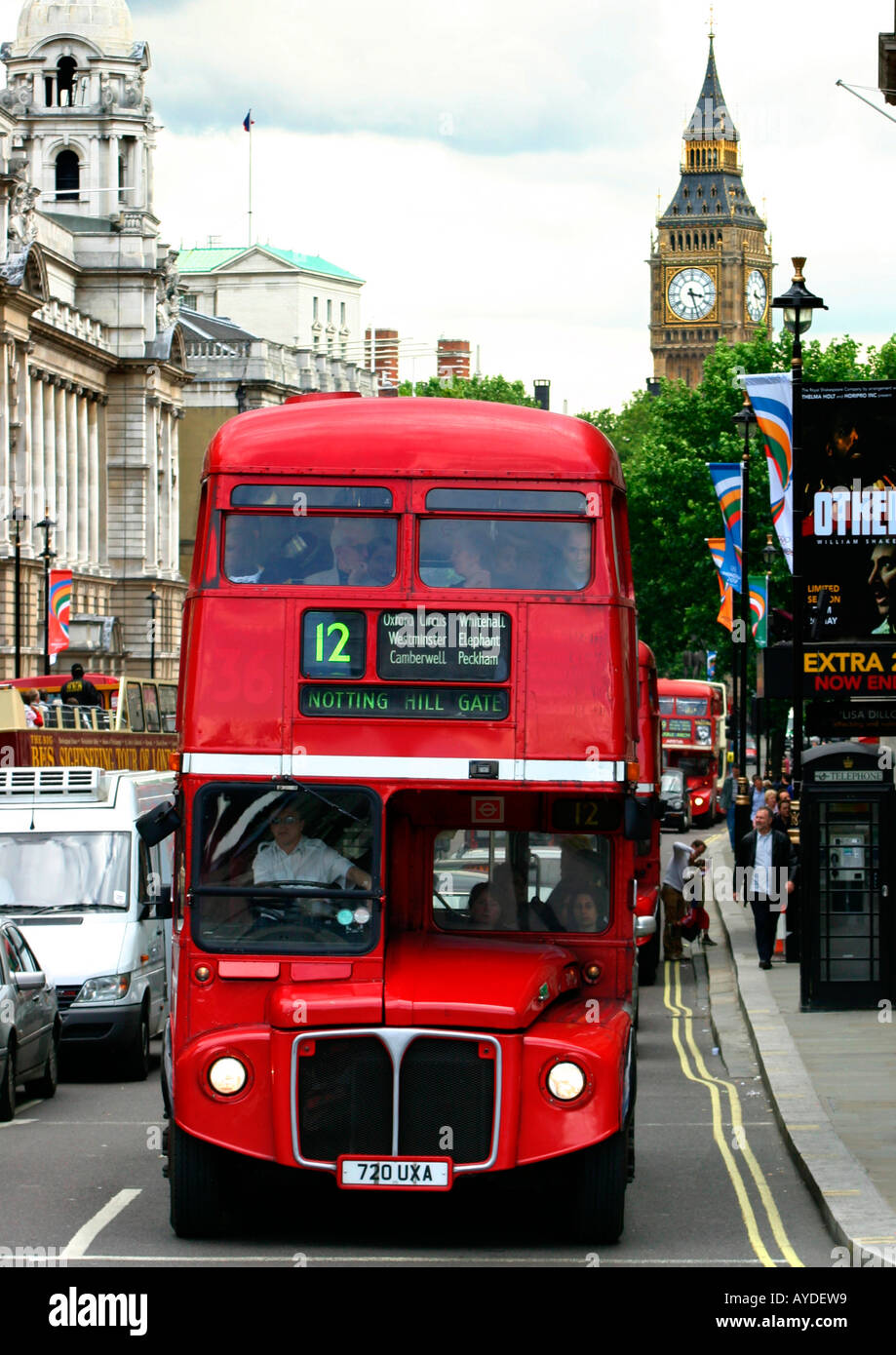 red routemaster bus in whitehall, london, england - Stock Image