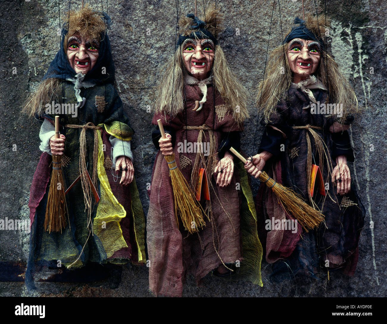 Central Europe Czech Republic South Bohemia Cesky Krumlov Arts Crafts 3 puppets of witches - Stock Image