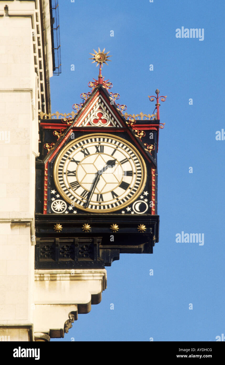 Royal Courts of Justice Public Street Clock London England UK time clocks - Stock Image
