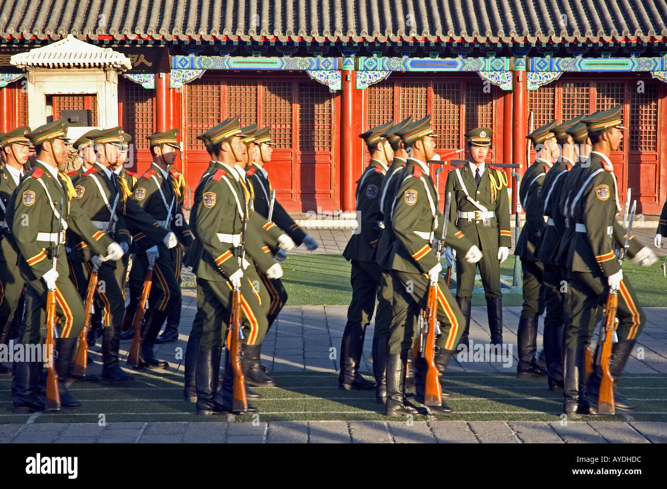 Soldiers practising military marching near Beijing's Forbidden City and Tiananmen square, China Stock Photo