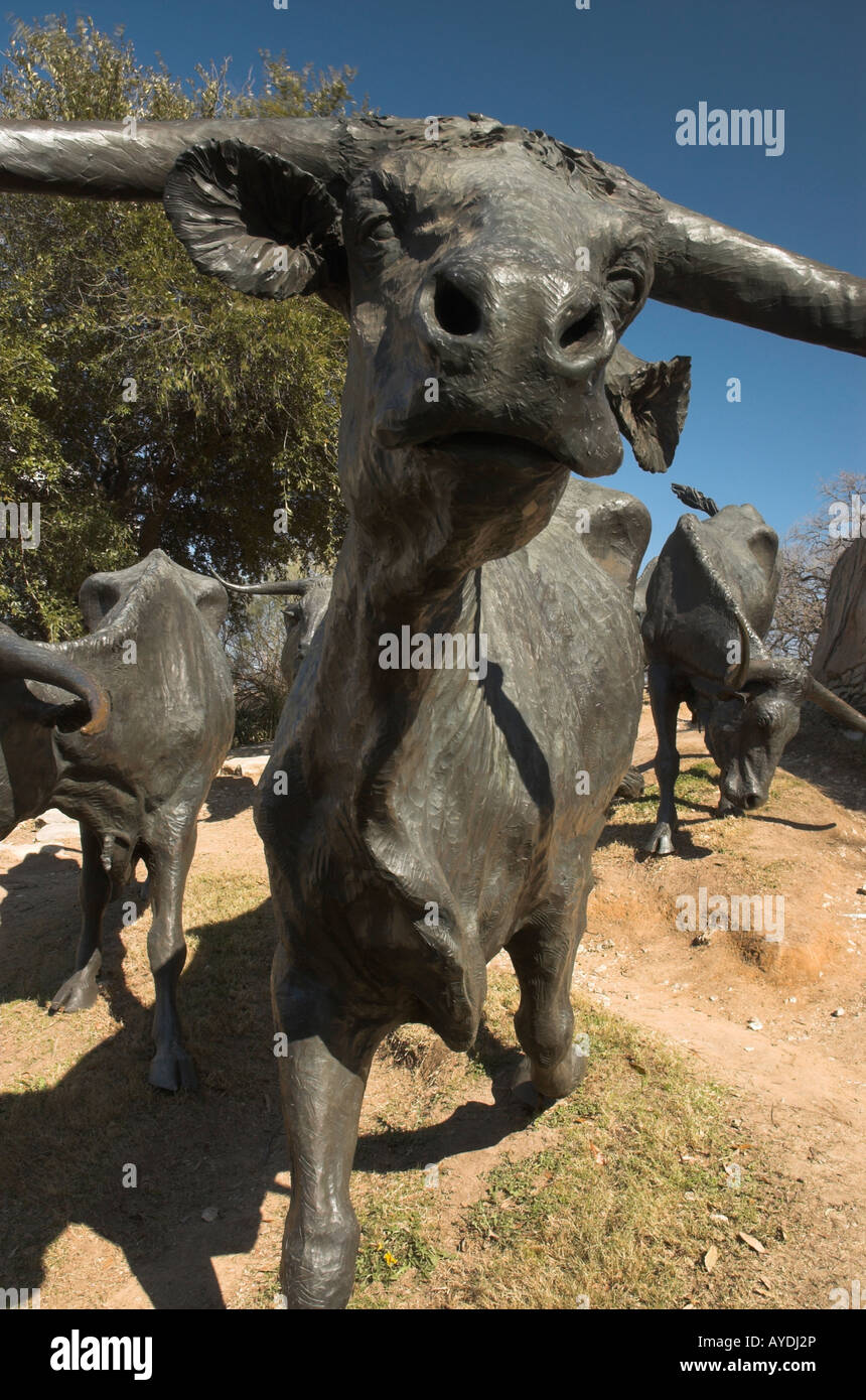 Statue longhorn cattle Dallas texas - Stock Image