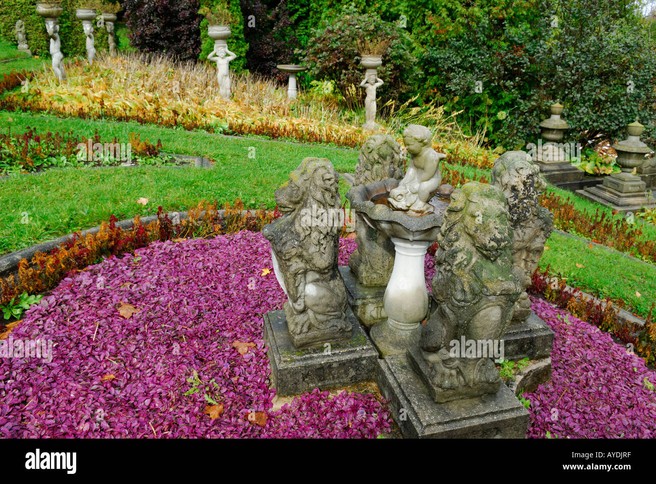 Faded Fall Garden With Lion And Cherub Statues And Purple Ajuga Ontario  Canada   Stock Image