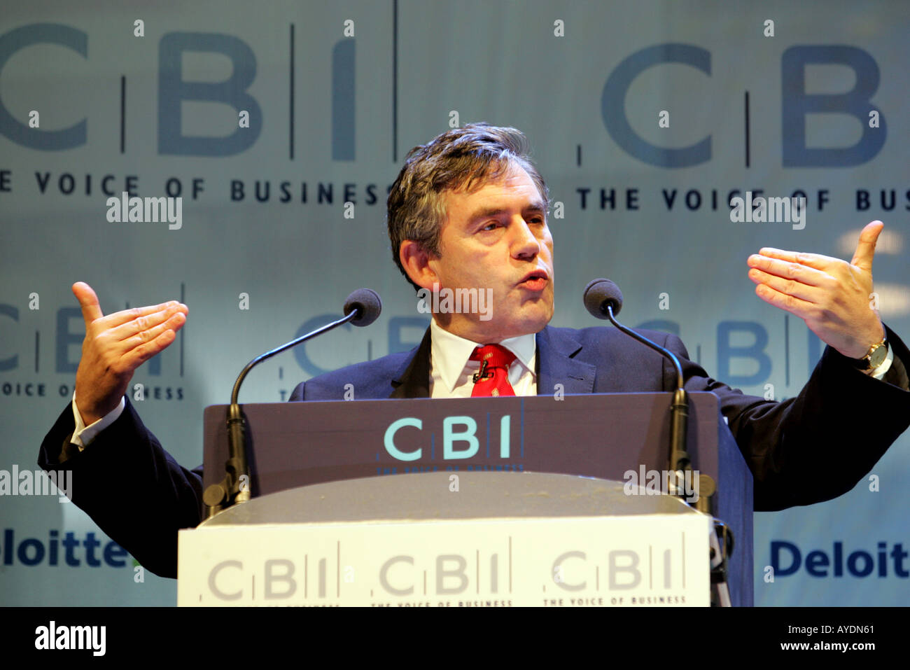 Gordon Brown speaking at the CBI conference in London. - Stock Image