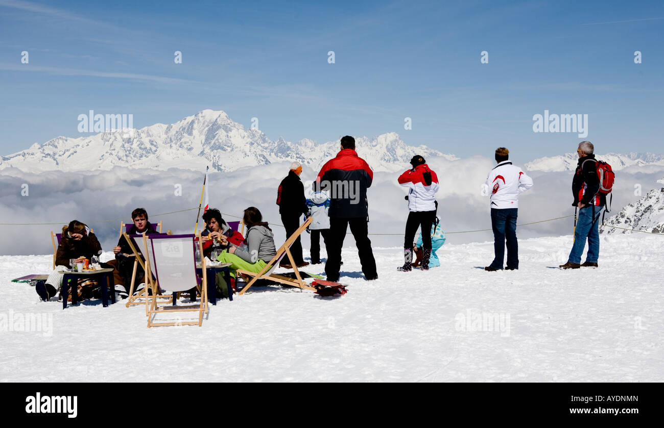 People Standing On The Piste In La Plagne The French Alps France Europe - Stock Image