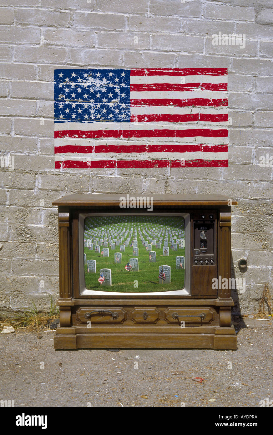 Veterans Cemetery on old style American TV set Stock Photo