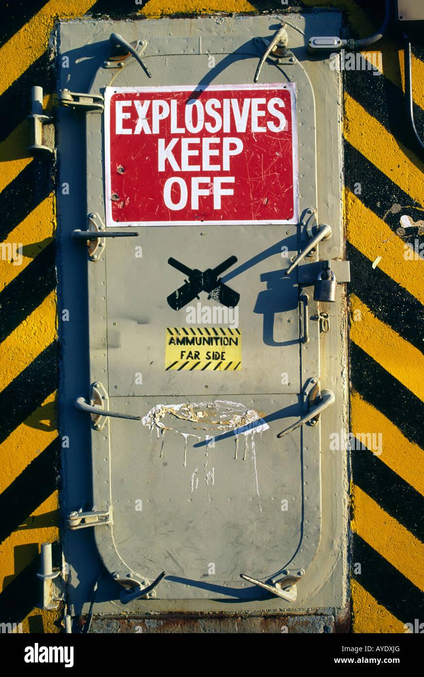 Explosives bunker door at the Charlestown Navy Yard in Boston Massachusetts - Stock Image