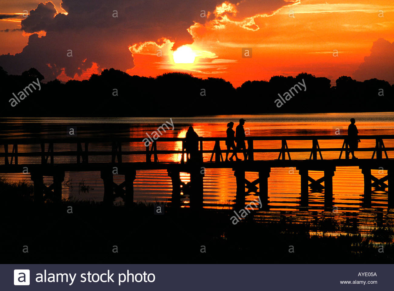 Golden orange sunset over Lake Mineola at the pier in Clermon Florida USA - Stock Image