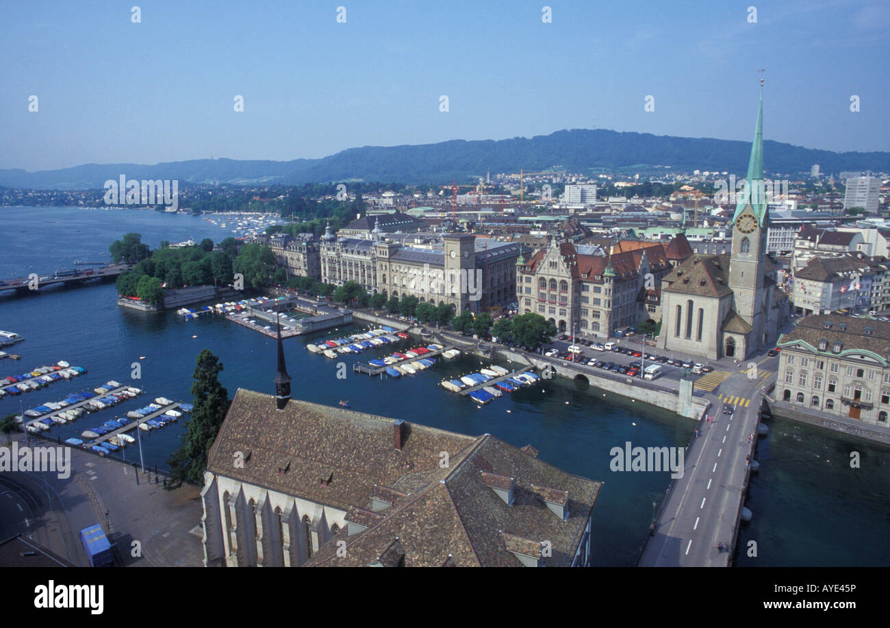 View from Grossmunster church over Zurich lake and the city of Zurich Switzerland Stock Photo