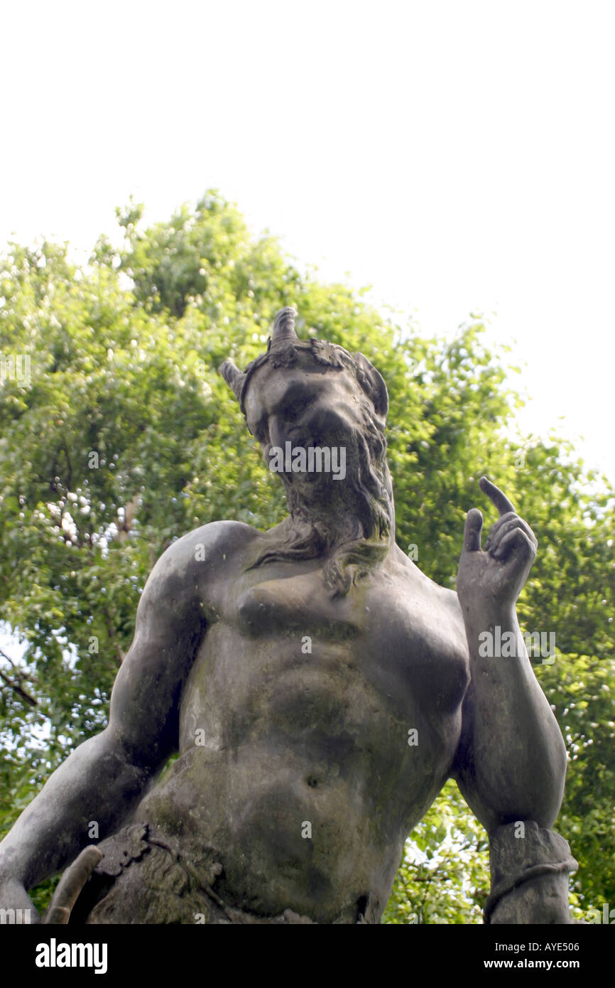 Newstead Abbey Nottingham former home of poet Lord Byron garden statue of satyr Pan - Stock Image