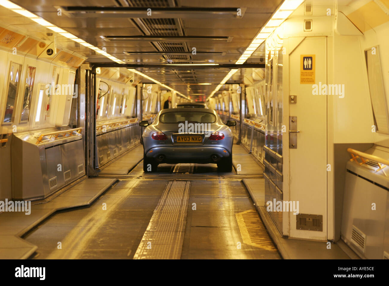 channel tunnel car train interior france uk stock photo 1828301 alamy. Black Bedroom Furniture Sets. Home Design Ideas