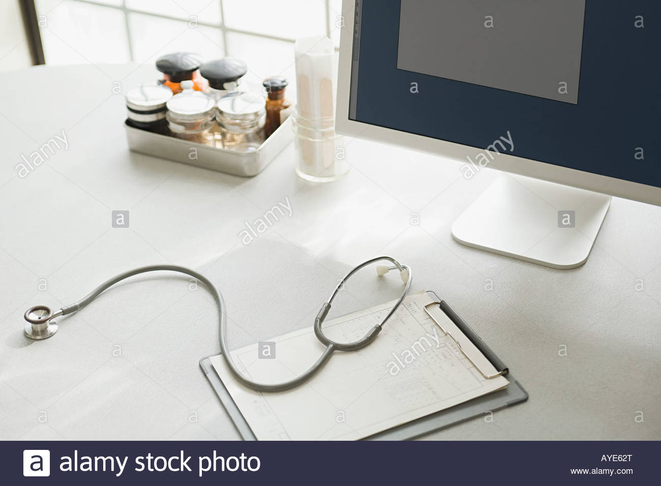 Desk in doctors office Stock Photo